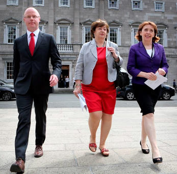 Recent departure: Stephen Donnelly with former Social Democrats colleagues, deputies Catherine Murphy and Roisin Shortall Photo: Tom Burke