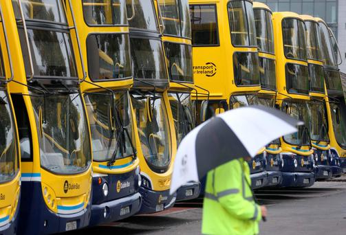 Stoppage: Buses parked during this week's strike Photo: Colin Keegan, Collins Dublin.