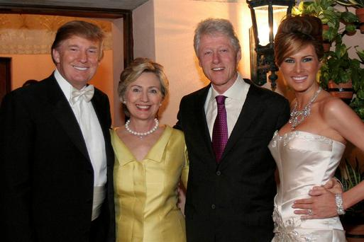 They were good friends in 2005: Donald and Melania Trump on their wedding day with Hillary and Bill Clinton