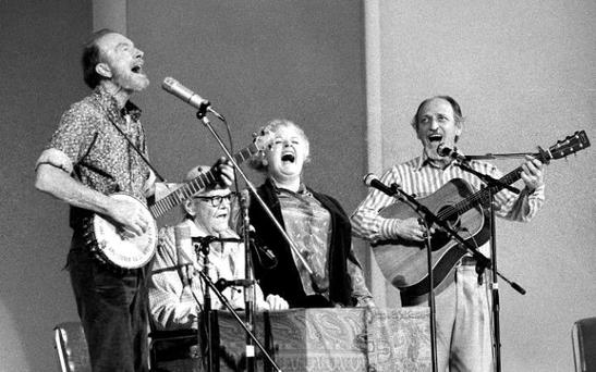 The Weavers performing in 1980: (from left to right) Pete Seeger, Lee Hays, Ronnie Gilbert and Fred Hellerman Credit: Richard Drew/AP