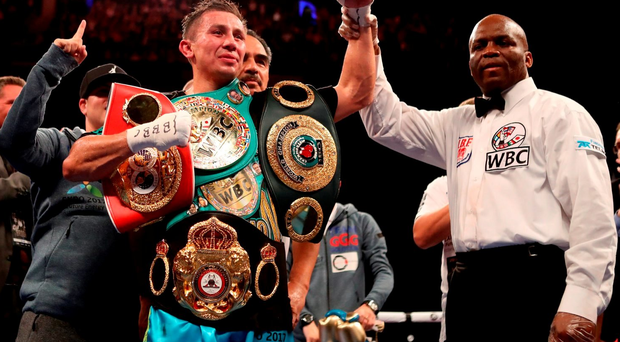 Gennady Golovkin celebrates victory over Kell Brook during the WBC, IBF and IBO World Middleweight title bout at The O2 Arena, London. Nick Potts/PA Wire.