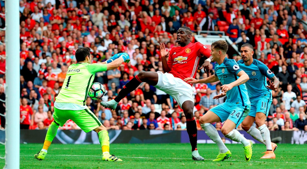 Manchester United's Paul Pogba fails to beat City goalkeeper Claudio Bravo at Old Trafford. PRESS ASSOCIATION Photo.
