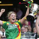 Joint captains Teresa Meaney and Marian Doyle with the Kay Mills Cup