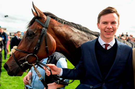 rainer Joseph O'Brien scored his first Group 1 winner with Intricately, ridden by his brother Donnacha in the Moyglare Stud Stakes during the Irish Champion Stakes the Irish Champion Stakes at The Curragh in Co. Kildare. Photo by Cody Glenn/Sportsfile