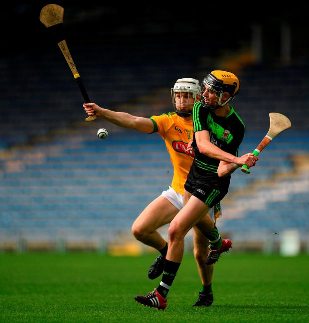 David Kenny of Mayo in action against Stefan Kelly of Meath. Photo by Ray McManus/Sportsfile