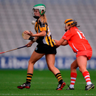 Laura Greene of Kilkenny in action against Rachel O'Shea of Cork. Photo by Piaras Ó Mídheach/Sportsfile