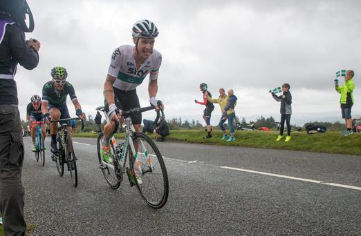 Cyclists competing in the Tour of Britain cycle towards the race finish of Stage Six at Haytor Rocks on Dartmoor near Newton Abbot 9, 2016 in Devon, England. Photo by Matt Cardy/Getty Images