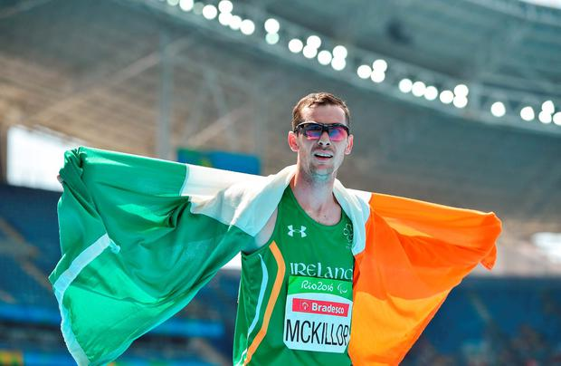 Michael McKillop celebrates his gold medal run in yesterday's T37 1500m final. Photo by Paul Mohan/Sportsfile