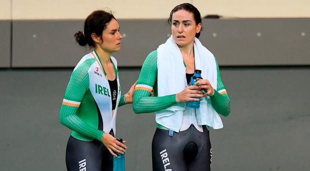 Katie-George Dunlevy of Ireland, left, along with her pilot Eve McCrystal. Photo by Diarmuid Greene/Sportsfile