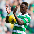 Celtic's Moussa Dembele with the match ball following his hat trick Photo: Jeff Holmes/PA Wire