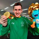 Michael McKillop with his gold medal in Rio. Photo by Paul Mohan/Sportsfile
