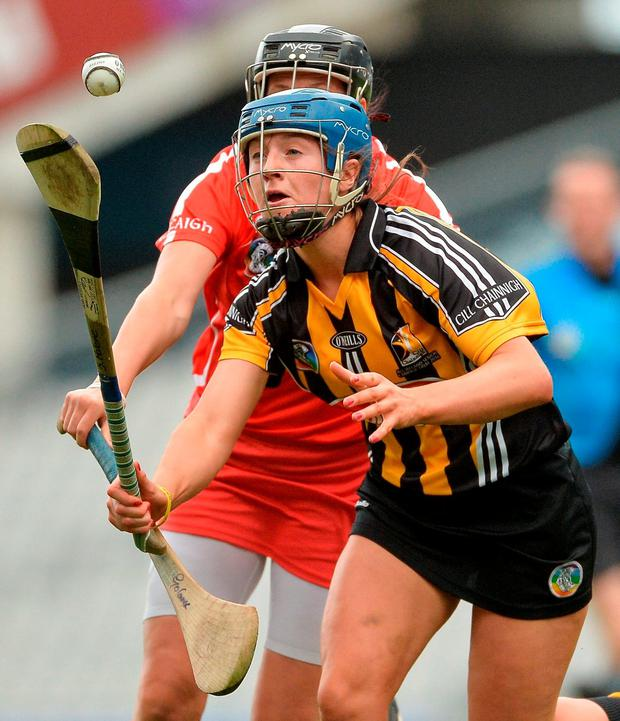 Julie Ann Malone of Kilkenny in action against Gemma O'Connor of Cork during the All-Ireland senior camogie final. Photo: Eóin Noonan/Sportsfile