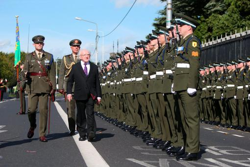 The President inspects members of the Defence Forces.. Picture credit; Damien Eagers
