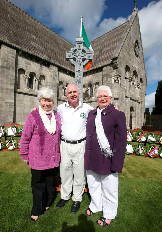 Michael Blanch, from Tallaght, with his sisters – Sheila McDonald (left) and Anna Carthy – at the new memorial. Picture credit; Damien Eagers