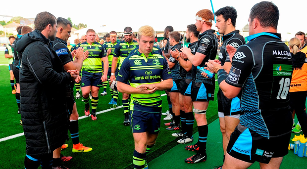 Leinster captain Luke McGrath leads his team off after their defeat Photo: Seb Daly/Sportsfile