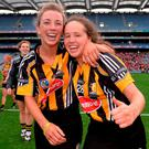 All-Ireland-winning Kilkenny camogie players Stacey Quirke (left) and Aoife O'Carroll celebrate after defeating reigning champions Cork at Croke Park yesterday. It's the first time in 22 years the O'Duffy Cup has returned to Kilkenny. Photo: Sportsfile
