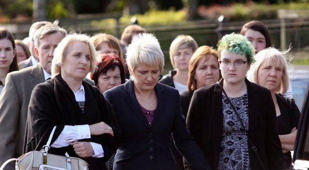Rebecca Haughey's family at her funeral
