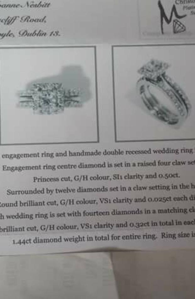 An image and description of Joanne's rings