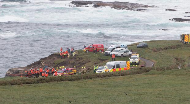The scene near Kilkee where an Irish Coast Guard rescue boat capsized. Photo: Press 22