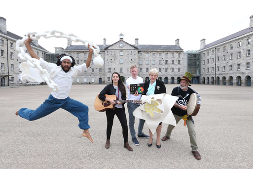Heather Humphreys TD is joined by Culture Night ambassadors (l to r) Ethio-modern dance performer Ras Mikey Courtney, Louise MacNamara from Heathers, Irish author Colin Barrett, and bodhran percussionist Ronan O'Snodaigh. Photograph: Sasko Lazarov / Photocall Ireland