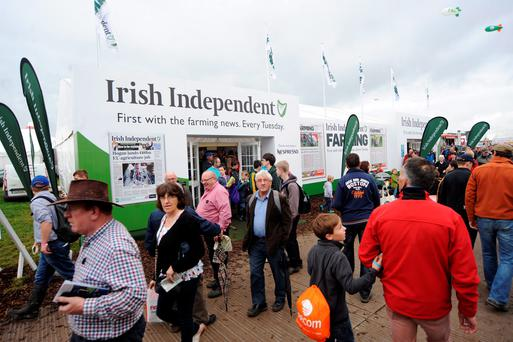 The Irish Independent tent at a previous National Ploughing Championships in Ratheniska, Co. Laois - this year's marquee will be bigger and better