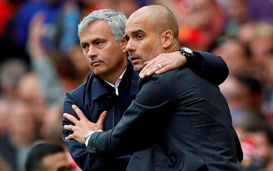 Manchester United manager Jose Mourinho and Manchester City manager Pep Guardiola at the end of the match Action Images via Reuters / Carl Recine