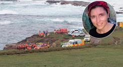 The scene near Kilkee where an Irish Coast Guard rescue boat capsized (main) Caitriona Lucas (Inset)