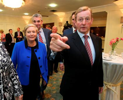 Tánaiste Frances Fitzgerald and Taoiseach Enda Kenny at the Kildare think-in. Photo: Damien Eagers