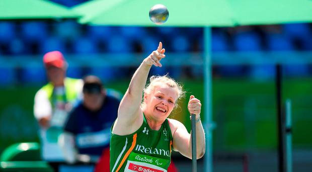 Deirdre Mongan in action during the women's shot put F53 Final Photo: Sportsfile
