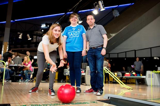 Claire Organ, Hill 16 Macra, Grace Hoey, North County and Richard White, Hill 16 Macra, at the Macra bowling competition at the in Charlestown Leisureplex. Photo: Arthur Carron