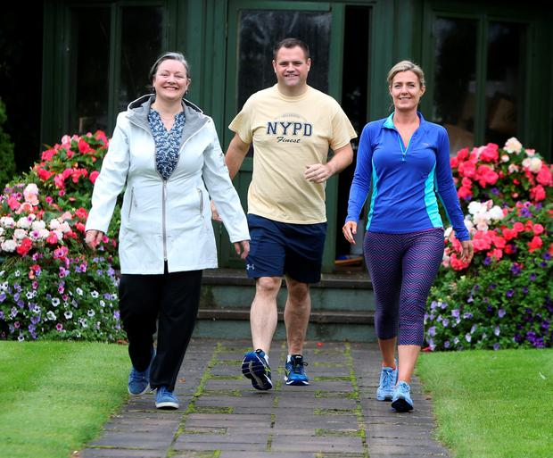 FG TDs Marcella Corcoran Kennedy, Neil Richmond and Maria Bailey go for a walk before the Fine Gael think-in at the Keadeen Hotel in Newbridge. Photo: Damien Eagers