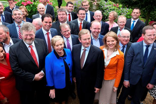 Taoiseach Enda Kenny pictured alongside party colleagues at the Fine Gael think in at the Keadeen Hotel in Newbridge. Picture credit; Damien Eagers