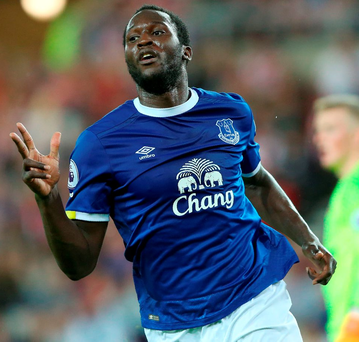 Romelu Lukaku celebrates after completing his hat-trick against Sunderland Photo: SCOTT HEPPELL/AFP/Getty Images