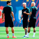 Barcelona's attacking trio Luis Suarez, Neymar and Lionel Messi during yesterday's training session ahead of tonight's game against Celtic Photo: David Ramos/Getty Images