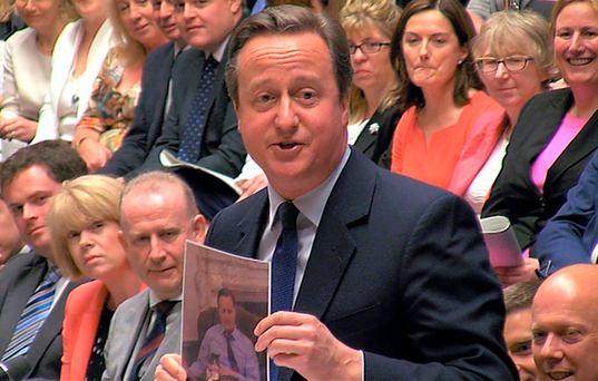 Former British Prime Minister David Cameron in the House of Commons Photo: Parliament TV/Handout via REUTERS