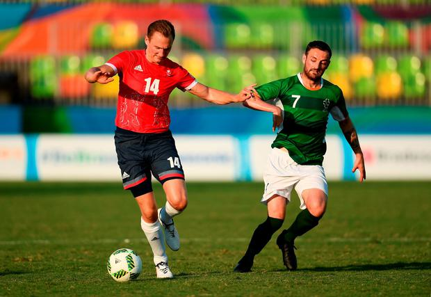 James Blackwell of Great Britain in action against Ireland's Gary Messett Photo: Paul Mohan / Sportsfile