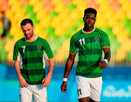 Gary Messett (left) and Tomiwa Badun after Ireland conceded a fourth goal Photo: Paul Mohan/Sportsfile