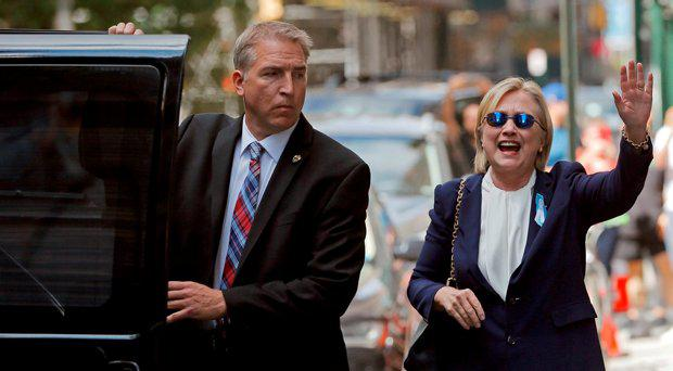 U.S. Democratic presidential candidate Hillary Clinton leaves her daughter Chelsea's home in New York, New York, United States September 11, 2016, after Clinton left ceremonies commemorating the 15th anniversary of the September 11 attacks feeling