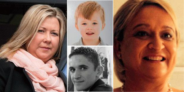 Gillian Treacy (Left) her son Ciaran (top) Donna Price (Right) and son Darren (Bottom)