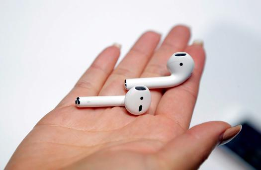 The new Apple AirPods are shown during an event to announce new Apple products on Wednesday, Sept. 7, 2016, in San Francisco