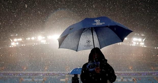 General view during a storm before the game was postponed Action Images via Reuters / Carl Recine