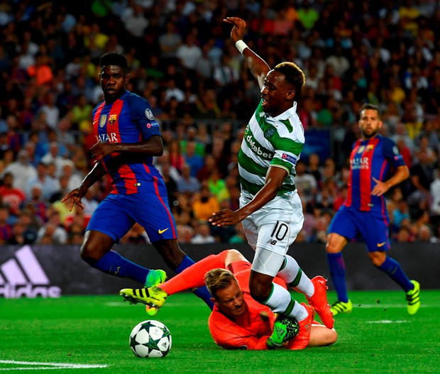 Celtic's Moussa Dembele is fouled by Barcelona's Marc-Andre ter Stegen during their Champions League Group C match between at the Nou Camp in Barcelona. Photo: David Ramos/Getty Images