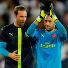 Arsenal's David Ospina and Petr Cech at the end of the match