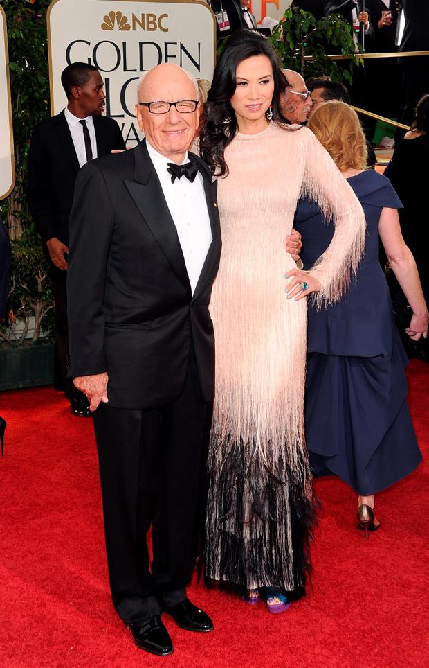 Rupert Murdoch and Wendi Deng arrive at the 69th Annual Golden Globe Awards held at the Beverly Hilton Hotel on January 15, 2012 in Beverly Hills, California. (Photo by Jason Merritt/Getty Images)