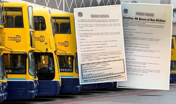 Leaflets distributed on Dublin buses on Wednesday morning