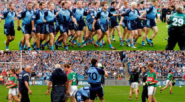 Dublin and Mayo do battle for the Hill 16 end in 2006
