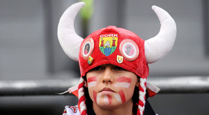 25 September 2011; A Cork fan during the game. TG4 All-Ireland Ladies Senior Football Championship Final, Croke Park, Dublin. Picture credit: Pat Murphy / SPORTSFILE