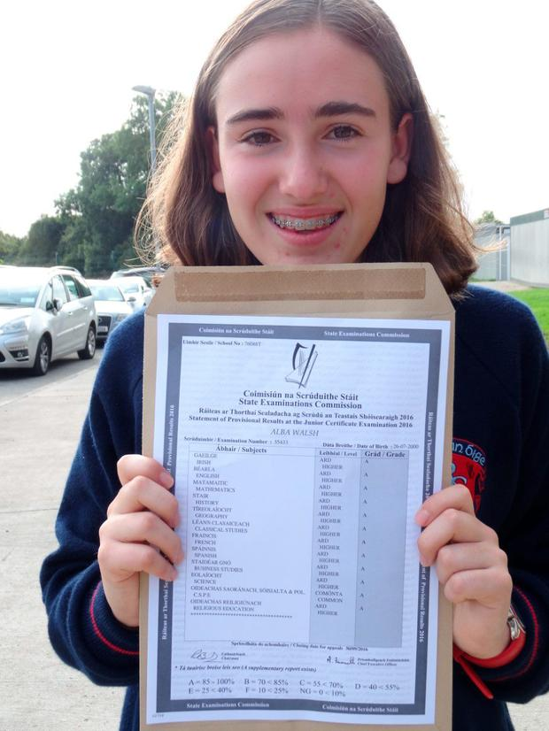 Alba Walsh-Subiran (16), who goes to Ratoath College in Co. Meath, achieved a whopping 12 top grades