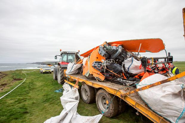 The remains of the coast guard boat which capsized during a recue in Kilkee County Clare during the search for a missing local man. Pic:Mark Condren 14.9.2016