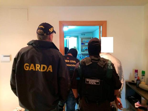 Moment Irish man is arrested in Spain over the murder of Gary Hutch. Picture: Garda Press Office